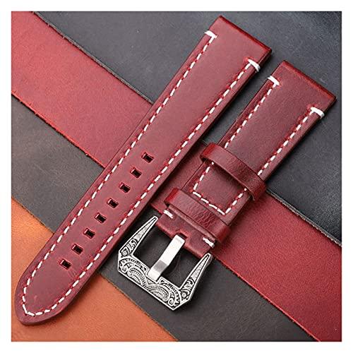 kasu Vintage cuero genuino reloj de reloj de 20 mm 22 mm 24 mm mujeres hombres cera petróleo cera de cera reloj de vaquera correa de la correa accesorios ( Band Color : Red Brown , Band Width : 22mm )