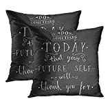 gthytjhv Dekokissenbezug, Retro 'Do Something Today That Your Future Self Will Thank You for' Hand Lettering Quote on Chalkboard Pillow Cover Home Decor Nice Gift Square Indoor Pillowcase...