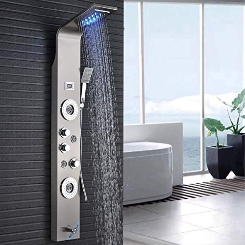Pannello colonna doccia di alta qualità in acciaio Inox con indicatore di temperatura a LED. Doccia idromassaggio con 4 getti; Dotato di 5 funzioni. Colore: Argento (nichel spazzolato).