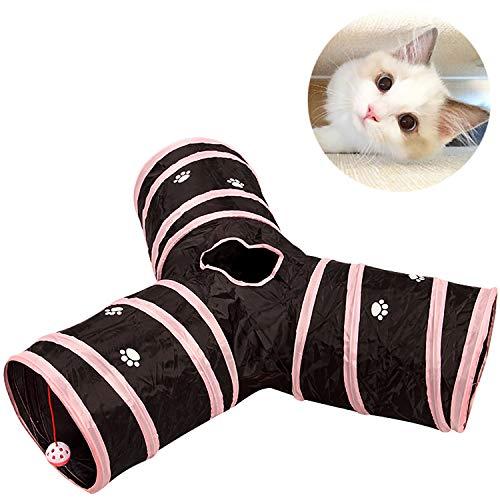 Katzenspielzeug Katzentunnel,Y-förmiges Dreiwege-Tunnelrohr,Faltbar, Düsendurchmesser 25cm, pink + schwarz,Geeignet für Katzen, Welpen, Kaninchen und andere Kleintiere,Einfach zu lagern.