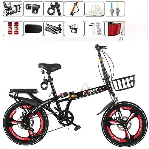LXLTLB Klappfahrrad Unisex Erwachsener 20in Stoßdämpfung Variable Geschwindigkeit Scheibenbremse Faltbares Fahrrad Tragbar Folding City Bike,Schwarz
