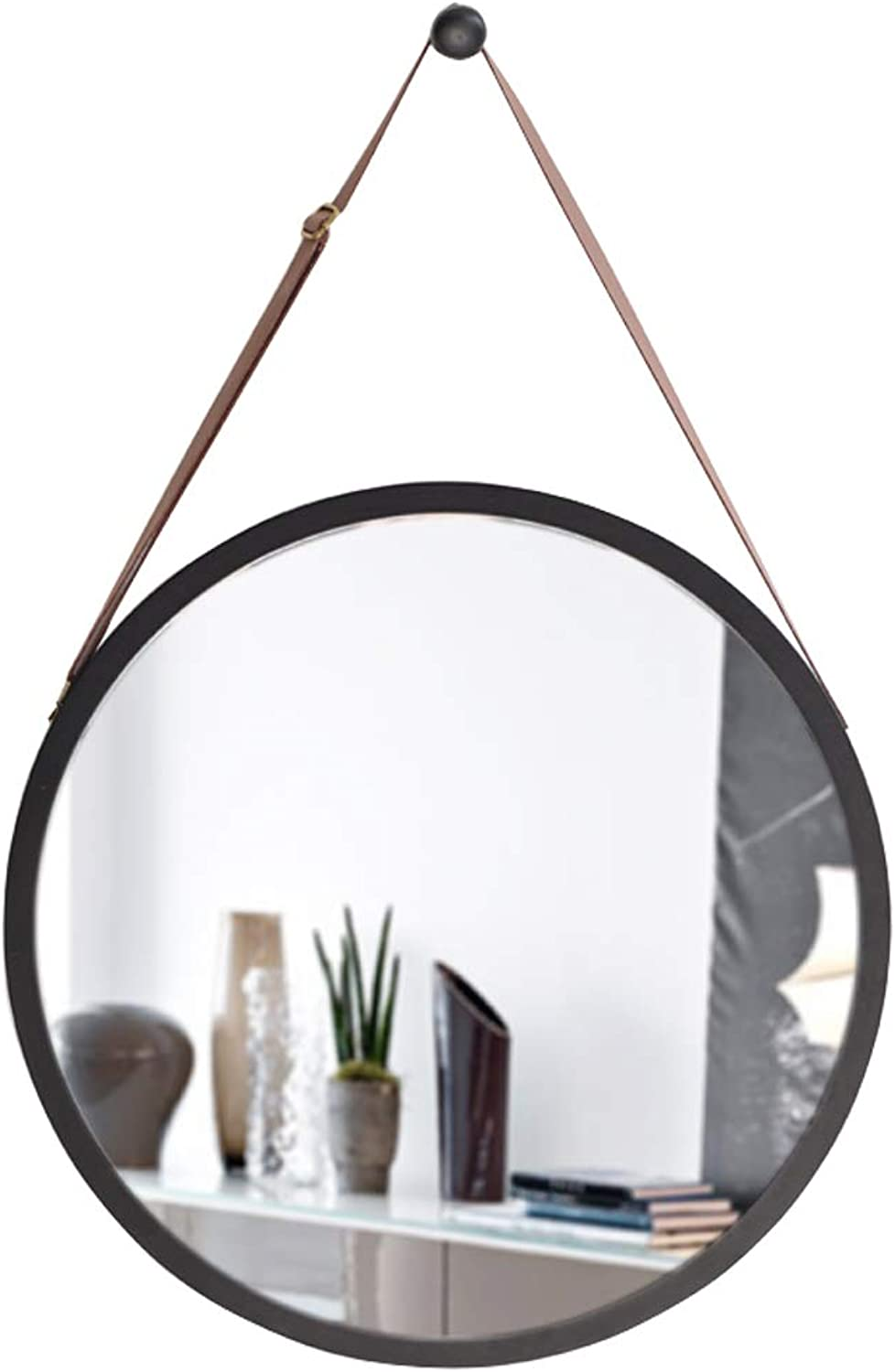 Contemporary Wall Mirror with Adjustable Hanging Strap   Bamboo Framed   Vanity Mirror Wall Decor (15″ 17.7″)