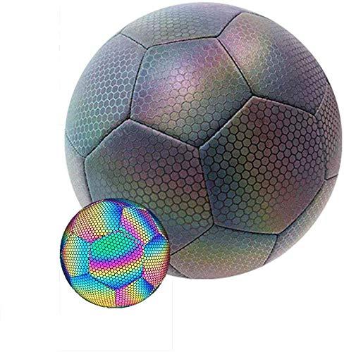 Pelota de fútbol reflectante brillante holográfica luminosa para juegos nocturnos de fútbol, adecuada para juegos de entrenamiento nocturno
