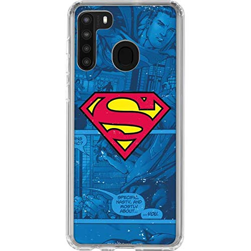 Skinit Clear Phone Case Compatible with Galaxy A21 - Officially Licensed Warner Bros Superman Logo Design