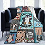 Flannel Fleece Blanket Full Size I Just Really Like Cute Penguin Blanket,All-Season Plush Blanket for Couch Bed Travelling Camping Or Kids Adults 50'X40'