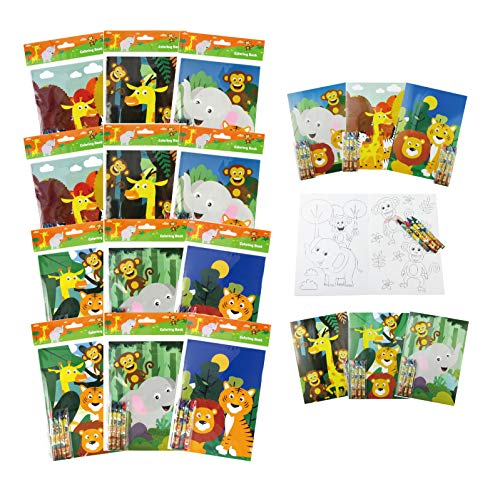 TINYMILLS Safari Zoo Animals Coloring Book for Kids Party Favor Set with 12 Coloring Books and 48 Crayons Fun Jungle Book Animals Birthday Party Supplies Zoo Party Favor Bag Fillers