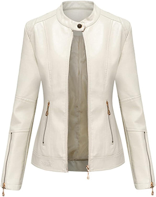Faux Leather Moto Jacket for Womens Long Sleeve Zipper Jacket Slim Fit Solid Color Jacket Lapel Winter Outwear Coat