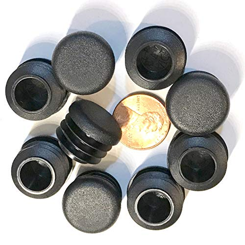 (Pack of 50) 3/4' OD Round End Caps (14-20 Ga - 0.59' - 0.69' (ID) Inside Diameter for Tube Covers || 0.75 Inch Sliding Inserts | Furniture Chair/Table Leg Caps | Fitness Eqpt End Caps | by SBD