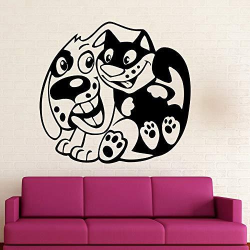 Tianpengyuanshuai Spaß Wandaufkleber Tier Haustier Hund Katze Freundschaft Kinder Schlafzimmer Dekoration Vinyl Fenster Aufkleber Wandbild 57X60cm