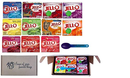 Jell-O Gelatin 6 ounce Variety Pack Bundle All 11 flavors In A Gift Box With A Color Changing Spoon