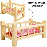 alles-meine.de GmbH UMBAUBAR - großes Holz - Puppenbett & Puppenwiege - 43 cm groß - mit Bettzeug - aus Naturholz - Holzwiege Schaukelbett - für Puppen groß - Bett Holzpuppenwieg..