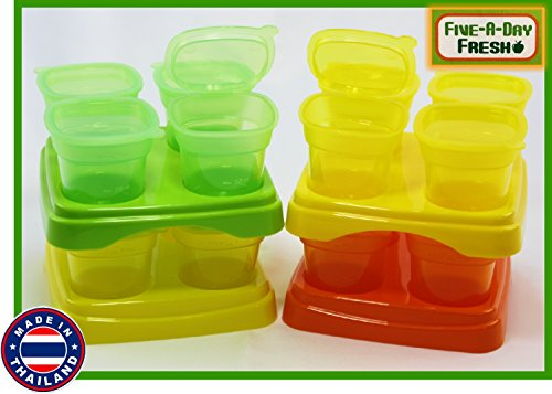 Learn More About Five-A-Day Fresh Baby Food Freezer Cubes Reusable & Stackable Storage Containers wi...