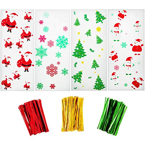 200 Pezzi Sacchetti Trasparenti Halloween Natale Biscotti di Caramelle Trattare Borse con 300 Pezzi Twist Tie per Forniture per Feste a Tema (Stile 1)