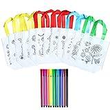 Naduew - Juego de 12 Bolsos para niños, Bolsa para Pintar con 12 bolígrafos de Grafito para Regalos para Fiestas de cumpleaños, comuniones, escuelas, guarderías y Celebraciones
