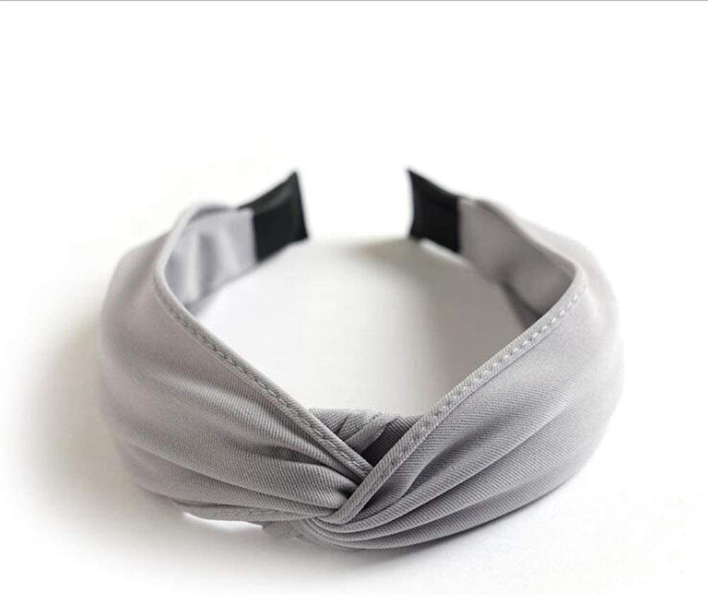 xiaofeng214 Women's Headband Wholesale Classic Solid Hairband Turban Cross Knot Hair Accessories Hair Hoop (Color : Grey Hairband)