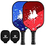 XS XSPAK Pickleball Paddle Set of 2 - Lightweight Graphite/Carbon Fiber Face & Polypropylene Honeycomb Composite Core Paddles Sets Including Racket Cover, USAPA Approved