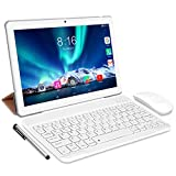 Tablet Android 10.0 - TOSCIDO Tablets 10 Zoll 4 GB/RAM,64 GB/ROM Tablet PC Octa Core,Dual SIM,WiFi Unterstützung Bluetooth Tastatur |Maus| Tablet Cover und Mehr Enthalten- Silver