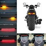 Teguangmei Barra de Luz Trasera LED para Motocicleta,Flexible e Impermeable 48SMD 3528 Luz de Señal de Giro LED/Luz de Circulación Diurna/Luz de Freno,Para Motocicleta Harley Davidson 12V (Rojo+Ámbar)