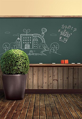 Laeacco 3x5ft Vinyl Photography Background School Memorial Classroom Theme Blackboard Chalk Simple Drawing Blackboard Bonsai Vintage Wood Floor Scene Photo Studio Backdrop