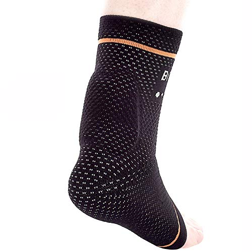 """BRD Sport Achilles Compression Ankle Brace - Medical Grade Brace Offers Breathable, Comfortable Recovery from Pain, Swelling, Tendonitis (Black with Orange Accent Stripe, L [9""""-9.75""""])"""
