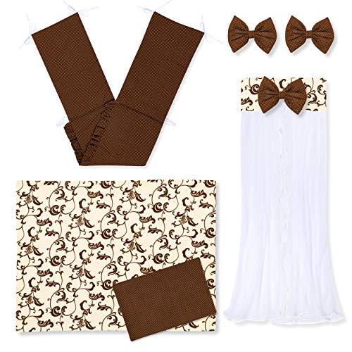 Zieba - Coordinato per culla, 5 pezzi, paracolpi, set lenzuola, zanzariera, dimensioni: 100 x 135 cm, colore: marrone