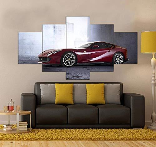 GSDFSD Cuadro en Lienzo 200x100 cm Impresión de 5 Piezas Ferrar Red Sports Car Material Tejido no Tejido Impresión Artística Imagen Gráfica Decoracion de Pared