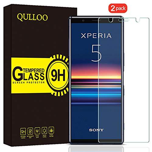 QULLOO Panzerglas für Sony Xperia 5, 9H Hartglas Schutzfolie HD Displayschutzfolie Anti-Kratzen Panzerglasfolie Handy Glas Folie für Xperia 5 - [2 Stück]