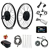 RICETOO 48V 1500W 20'/24'/26'/27.5'/28'/700C Front Wheel Electric Bicycle Conversion Motor Kit with Brushless Gear Hub Motor with KT-LCD8H Color Display. (48V 24 inch)