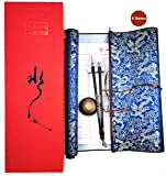 DelieKee 2 Pcs Reusable Chinese Magic Cloth Water Paper with 2 Brush & 1 Water Dish, 1 Pen Holder, Practice Chinese Calligraphy Set for Beginners Writing Thick with Scroll (Red Gift Box, 6 Items)
