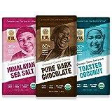K'UL CHOCOLATE Bars   3 Pack Dark Chocolate   Himalayan Sea Salt   Toasted Coconut   Pure Dark Chocolate   Organic Vegan, Gluten Free, Non Gmo, Direct Trade Dark Chocolate   2.8oz Each