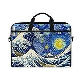 Funda para ordenador portátil de 13 13.3 14 15 pulgadas, Van Gogh Starry Night Great Wave Fuji Mountain Bolsa de hombro para ordenador portátil con correa desmontable