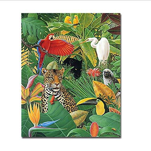 Digitale Schilderen door Getallen Kits Kleurplaten Muur Kunst Tekenen Luipaard Papegaai Kraan Vogel Foto Home Decor 60x75cm Geen Frame