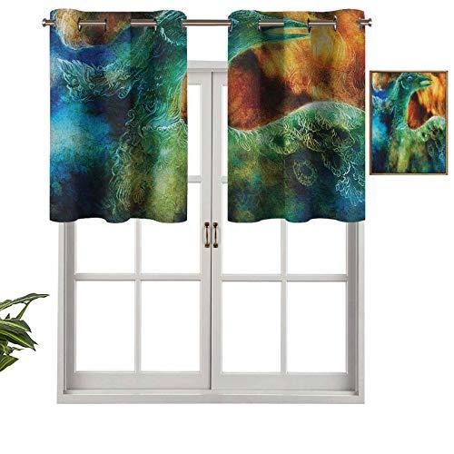 Hiiiman Panel de cortina de bloqueo UV, legendario renacimiento fénix larga vida nueva de The Ashes Sun imagen excepcional, juego de 2, 137 x 91 cm para habitación de niños