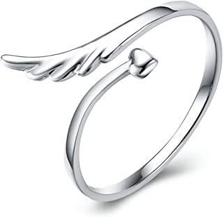 Fashion Open Adjustable Angel Wing Heart Finger Ring Charm Jewelry for Women