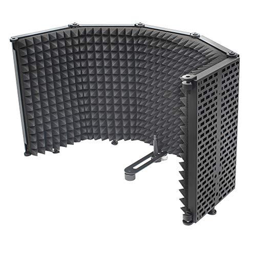 Micrófono Mic Escudo De Absorción De Sonido Del Micrófono De Espuma Aislante Blindado Insonorizadas Protector De La Cubierta De Plástico Del Micrófono Insonorizadas Pantalla (5-puerta Negro)