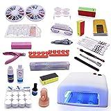 Juego de esmalte de uñas con lámpara LED UV, juego de esmalte de uñas para principiantes, 36 W, 100 pastillas de uñas, gel UV