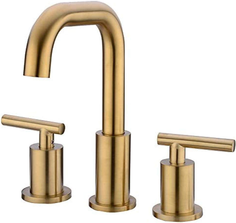 Wzglod-Zwei-Griff-8-Zoll-verbreitet Waschbecken Wasserhahn mit CUPC Wasserhahn Versorgungsschluche gebürstetem Gold