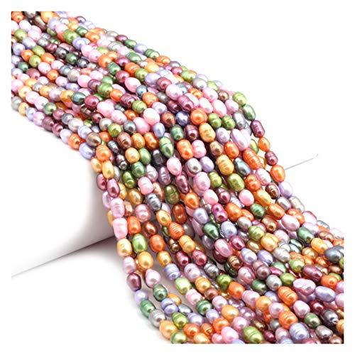 JINGGEGE Jengijo Rainbow Rainbow Natural Freshwater Pearl En Forma de arroz Perradas Sueltas para Bricolaje Pulsera Pendiente Collar Coser Joyería Accesorio (Color : Color 3, Item Diameter : 5 6mm)