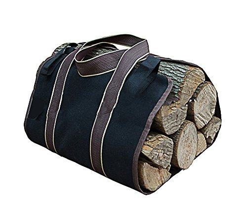 Premium Outdoor Firewood Carrier Canvas Log Tote Bags Log Carrier,Best For Carrying Wood (Black)