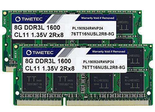 Timetec Hynix IC 16GB Kit(2x8GB) DDR3L 1600MHz PC3L-12800 Non ECC Unbuffered 1.35V CL11 2Rx8 Dual Rank SODIMM Laptop Memory Ram (16GB Kit(2x8GB))