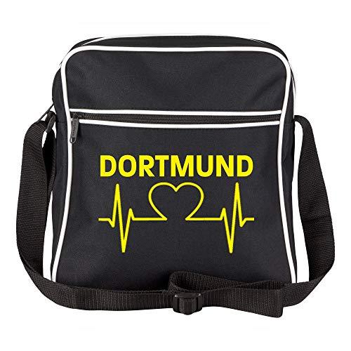 Schultertasche Dortmund Herz - Herzschlag - Puls schwarz - Dortmund Dortmunder Fußball Tasche Fanartikel