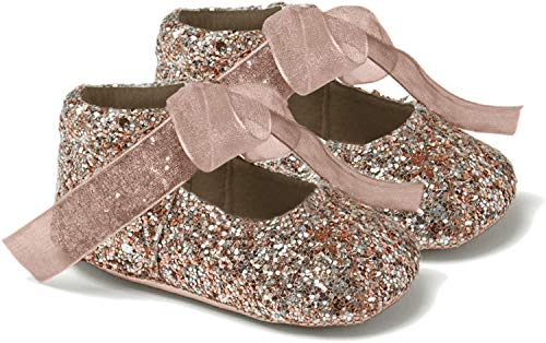 Baby Girls Booties - Pram Shoes, Party Shoes, Pre-Walkers, Glittery Details, Sparkly, Ribbon Tie Fastening, Soft Sole, Occasion Wear, Comfortable Fit - Rose Gold UK 1 (EU 17, 3-6 Months)