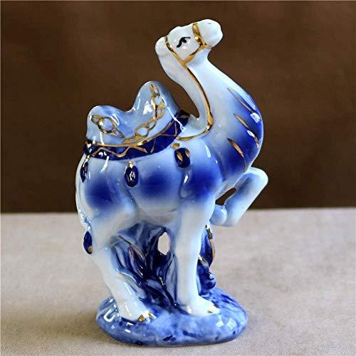 QIDOFAN - Estatuilla de estatuilla, porcelana vintage camello en miniatura pintada a mano de cerámica del desierto animal estatua senderismo aventura mascota decoración manualidades