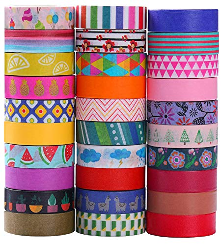 Ninico 30 Rolls Washi Tape Set  10mm Wide Colorful Flower Style Design Decorative Masking Tape for DIY Craft Scrapbooking Gift Wrapping