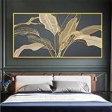 Lienzos Carteles e impresiones Plantas doradas abstractas Hojas Arte de la pared Imágenes Imágenes Pintura Sala de estar Decoración del hogar 23.6 'x47.2' (60x120cm) Sin marco