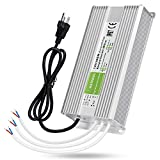 LEDMO IP67 Power Supply 300 Watts DC12V 25A AC/DC Driver Transformer Adapter Low Voltage Output with 3-Prong Plug 3.3 Feet Cable