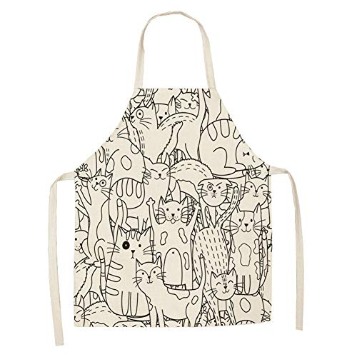 Vonloge Cat Apron Cute Cooking Apron for Women Men Chef Funny Aprons Kitchen Baking Painting Gardening and Party