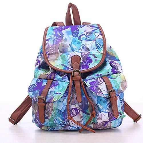 Rucksack Sommer und Herbst Umhängetasche europäischen und amerikanischen Stil Damen lässig Rucksack Canvas Tasche Schmetterling blau