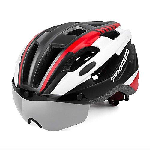 MIAO Casco da Bicicletta-Montagna Esterna/Bici di Strada Bici di aspirazione Magnetica Cintura di Protezione ciclabile, Red