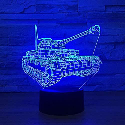 Interruptor táctil de luz nocturna con tanque 3D, lámpara de mesa LED que cambia de 7 colores, luz nocturna USB de visión 3D, regalo para niños, juguete de decoración del hogar